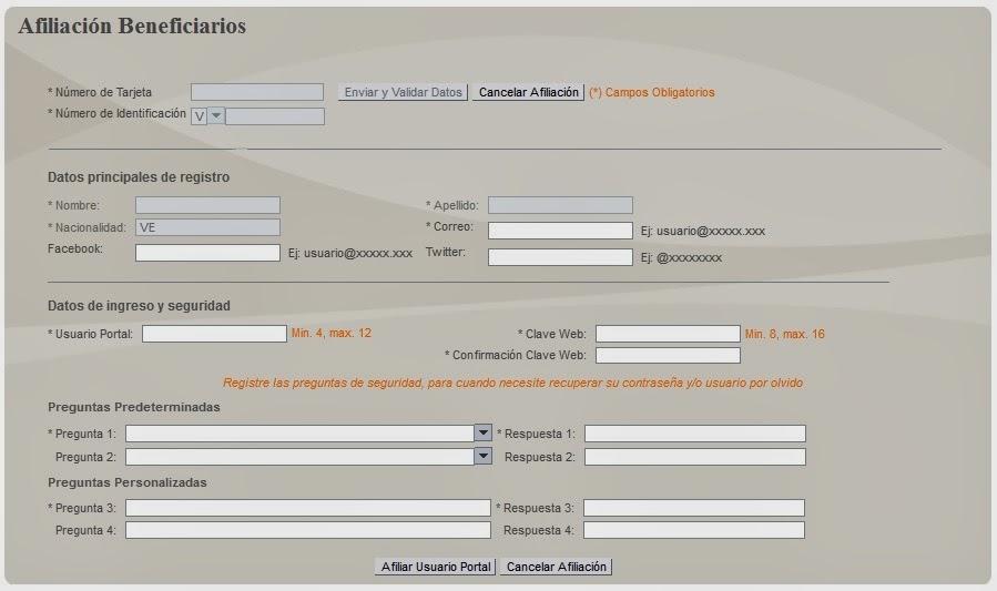 Formulario de afiliación de beneficiarios.