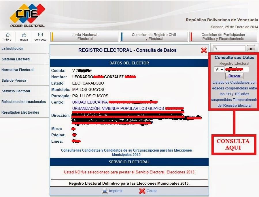 Portal del CNE.
