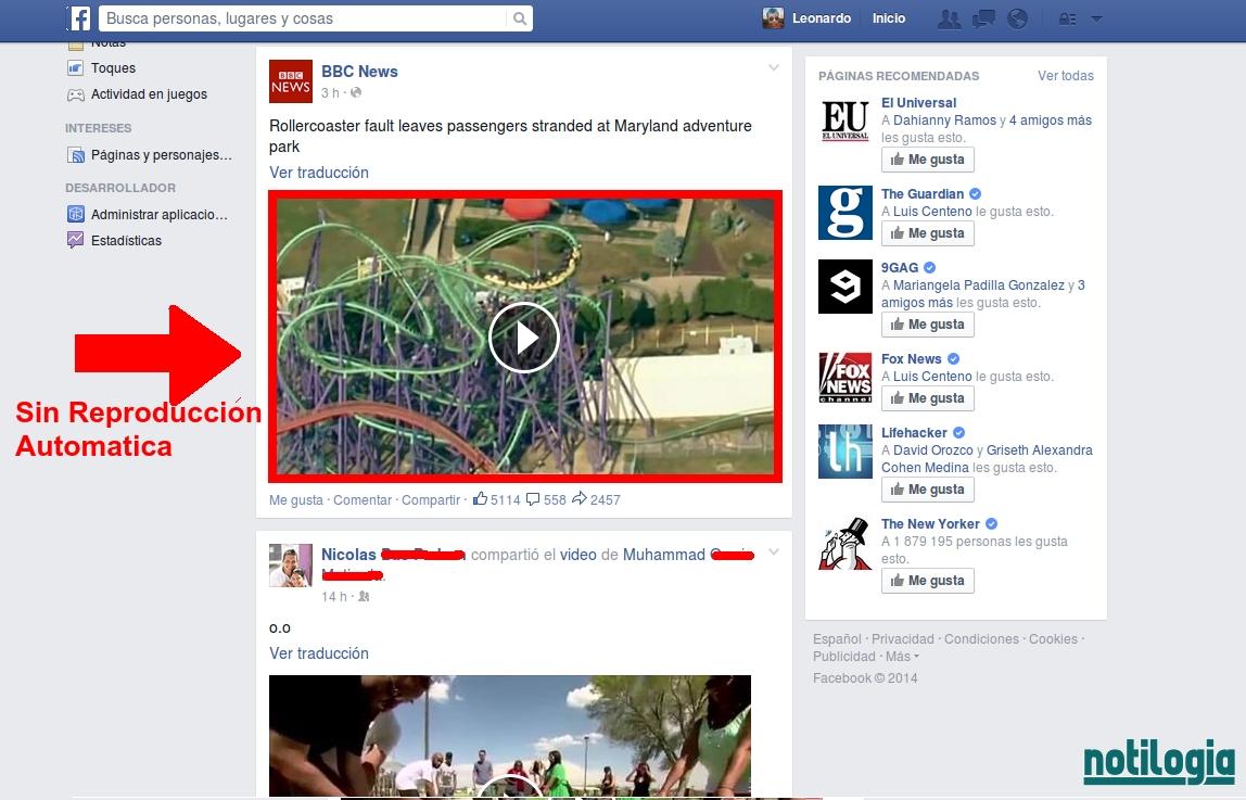 No mas Reproducción Automática de Videos en Facebook
