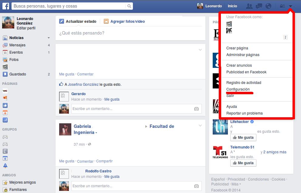 Entrar a Configuración de Facebook