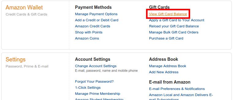 Ver Balance Gift Card