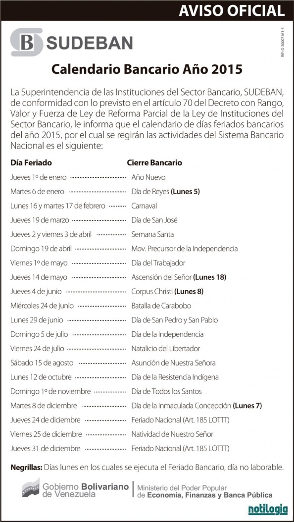 Calendario Bancario 2015 Venezuela