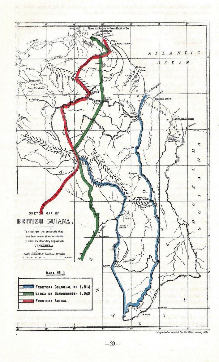 Mapa en el que se aprecian la frontera actual (rojo) la línea dibujada por Schomburgk (verde) y la línea de la Capitanía de 1810 (azul)