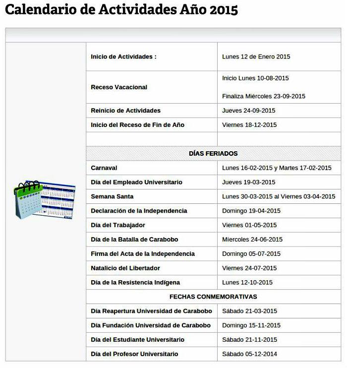 Calendario de la UC.