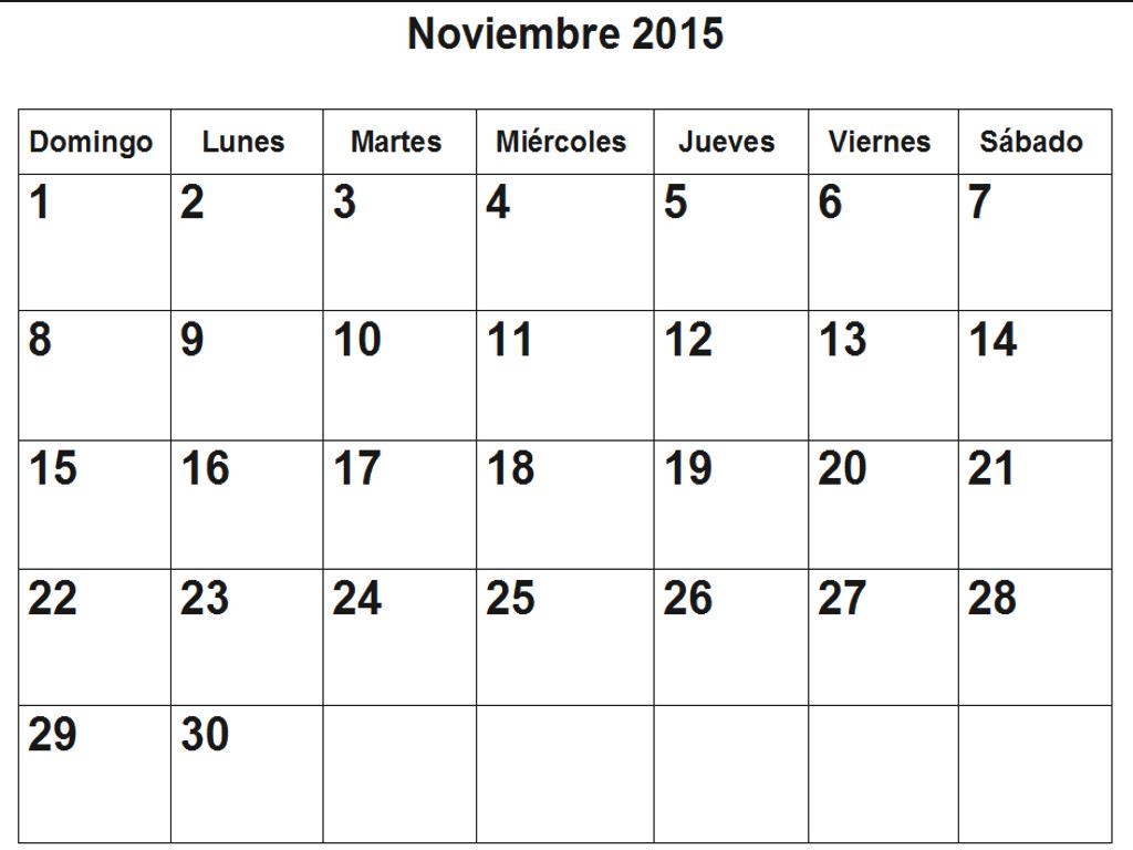 Calendario de noviembre 2015 en pdf para imprimir - Mes noviembre 2017 ...
