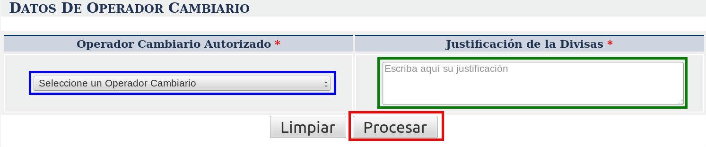 Datos Operador Cambiario Cencoex