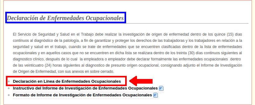 Declaracion Enfermedad Ocupacional