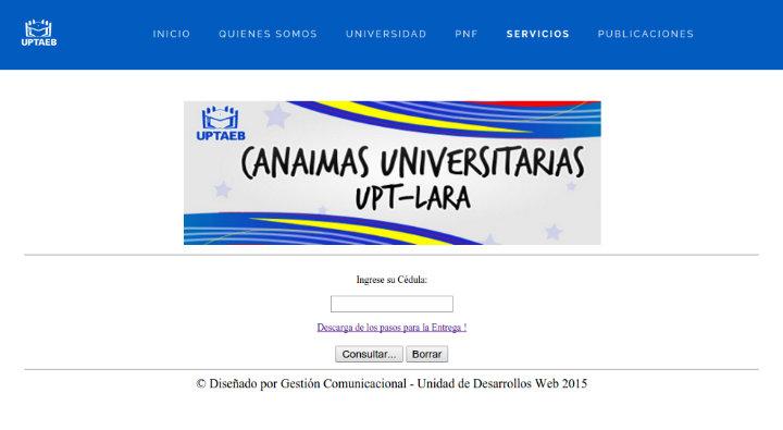 Sistema De Consulta Canaima Universitario UPTAEB