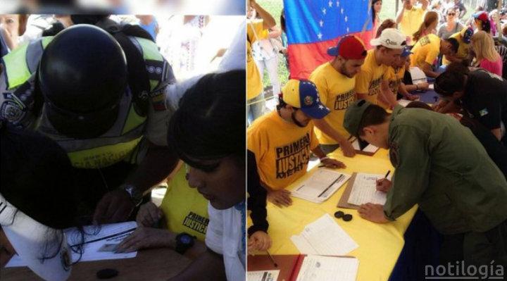 Militares y policías firmando por el revocatorio