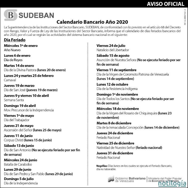 Calendario Bancario Venezuela 2020